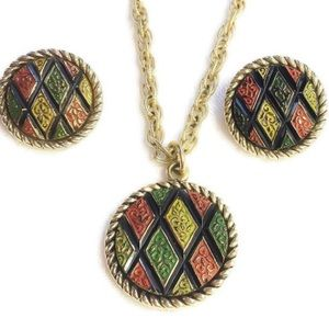 Mosaic Necklace & Clip On Earrings Set